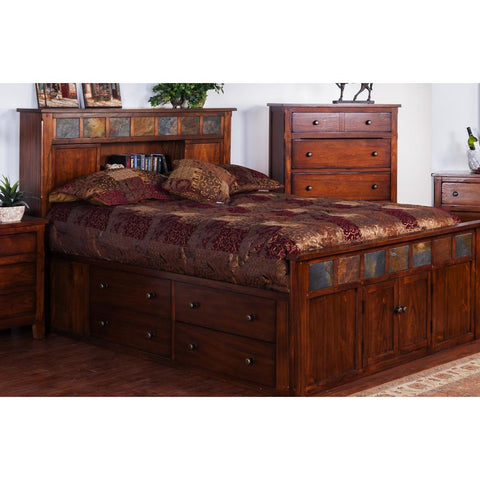 Sunny Designs Santa Fe Storage Bed with Slate In Dark Chocolate