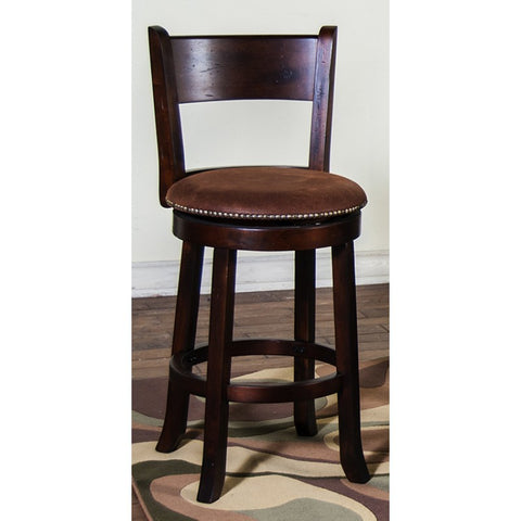 Sunny Designs Santa Fe Swivel Barstool with Back In Dark Chocolate