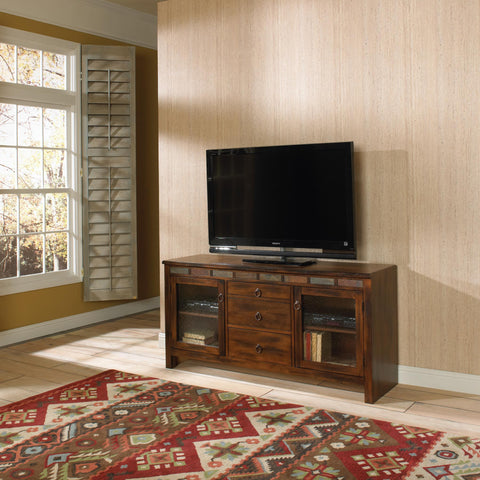 Sunny Designs Santa Fe TV Console with Game Drawer In Dark Chocolate
