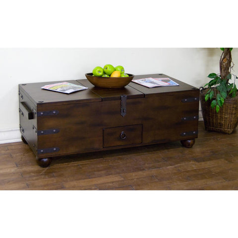 Sunny Designs Santa Fe Trunk Coffee Table In Dark Chocolate