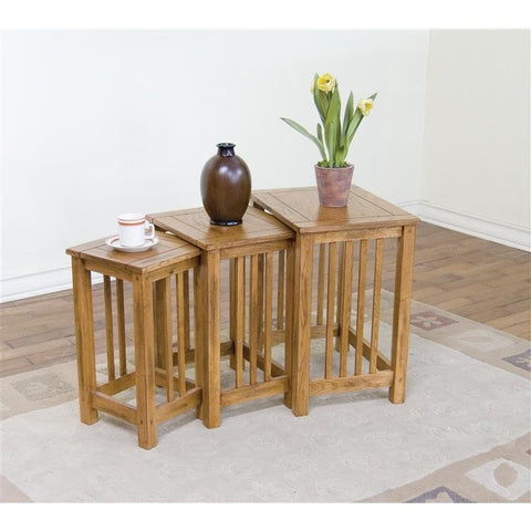 Sunny Designs Sedona 3 Piece Nesting Table In Rustic Oak
