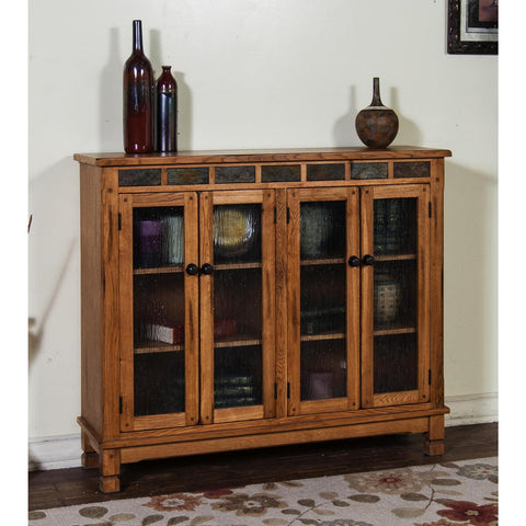 Sunny Designs Sedona Bookcase with 4 Doors In Rustic Oak
