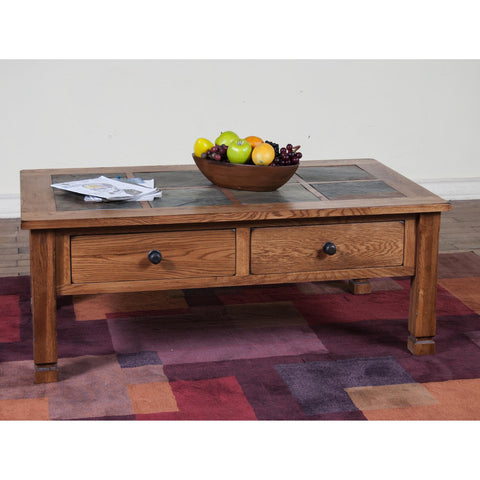Sunny Designs Sedona Coffee Table with Slate Top In Rustic Oak