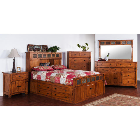 Sunny Designs Sedona Collection Five Piece Bedroom Set In Rustic Oak with Storage