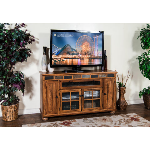 Sunny Designs Sedona Counter Height TV Console In Rustic Oak
