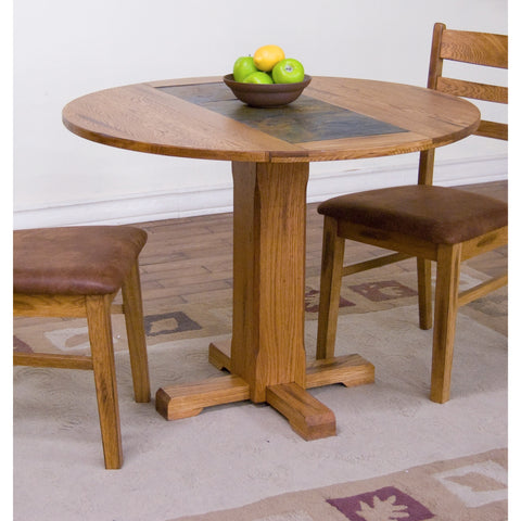 Sunny Designs Sedona Drop Leaf Table with Slate In Rustic Oak