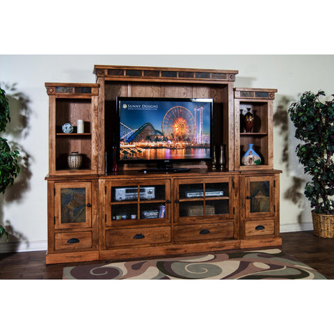 Sunny Designs Sedona Entertainment Wall In Rustic Oak