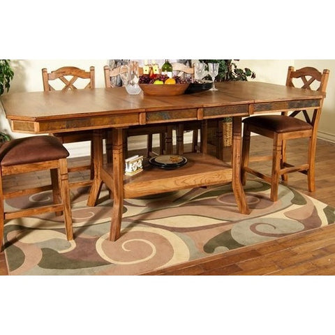 Sunny Designs Sedona Extension Table with Double Butterfly Leaf In Rustic Oak