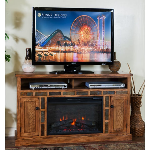 Sunny Designs Sedona Fireplace TV Console In Rustic Oak