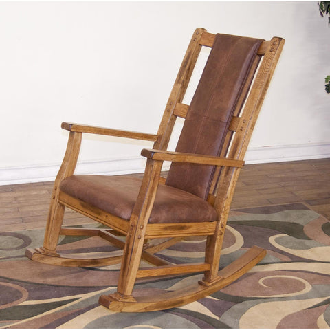 Sunny Designs Sedona Rocker with T-Cushion Seat & Back In Rustic Oak
