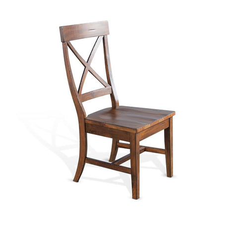 Sunny Designs Tuscany Crossback Chair w/Wood Seat in Vintage Mocha