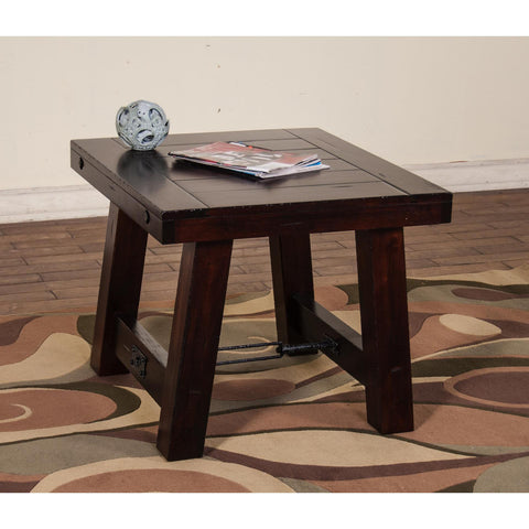 Sunny Designs Vineyard End Table In Rustic Mahogany