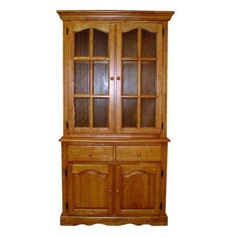 "Sunset Trading 19"" Two Door, One Drawer Buffet and Lighted Hutch in Light Oak"