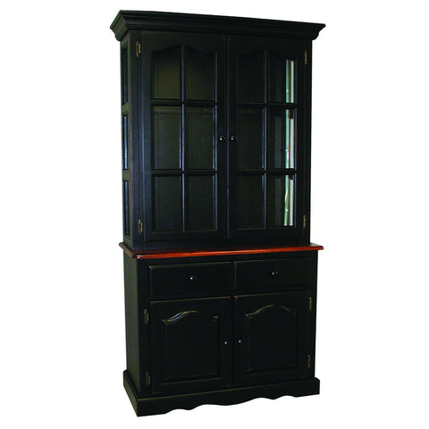 "Sunset Trading 19"" Two Door, One Drawer Buffet in Antique Black and Antique Black Lighted Hutch"