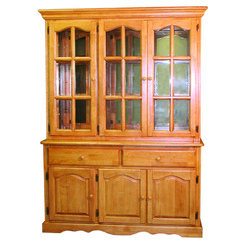 "Sunset Trading 22"" Three Door, Two Drawer Buffet and Lighted Hutch in Light Oak Finish"