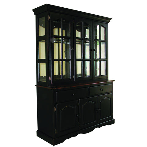 "Sunset Trading 22"" Three Door, Two Drawer Buffet in Antique Black and Antique Black Lighted Hutch"