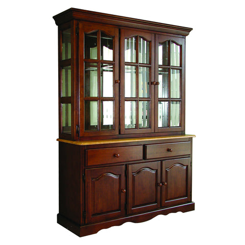 "Sunset Trading 22"" Three Door, Two Drawer Buffet in Nutmeg Light Oak Finish and Lighted Hutch in Nutmeg Light Oak Finish"
