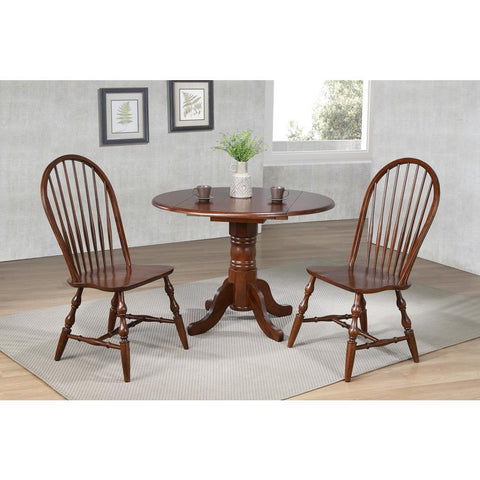 Sunset Trading 3 Piece 42 Inch Round Drop Leaf Dining Table Set in Antique White w/Chestnut Top & Spindleback Chairs in Distressed Chestnut