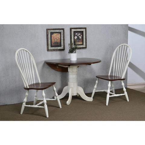 Sunset Trading 3 Piece 42 Inch Round Drop Leaf Dining Table Set in Chestnut w/Spindleback Chairs in Antique White
