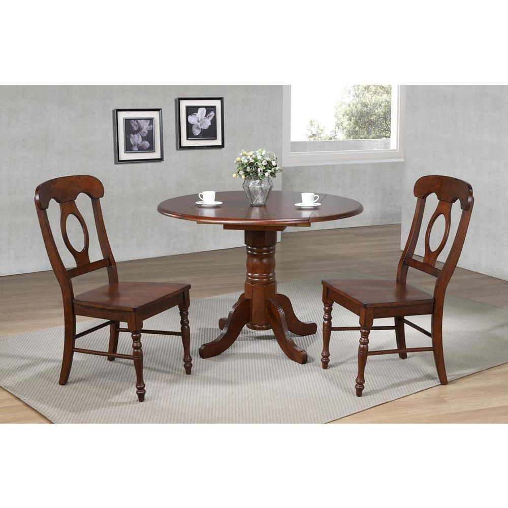Sunset Trading 3 Piece 42 Inch Round Drop Leaf Dining Table Set Indistressed Chestnut W Napoleon Chairs Beyond Stores