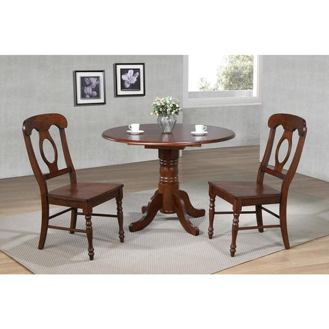 Sunset Trading 3 Piece 42 Inch Round Drop Leaf Dining Table Set inDistressed Chestnut w/Napoleon Chairs