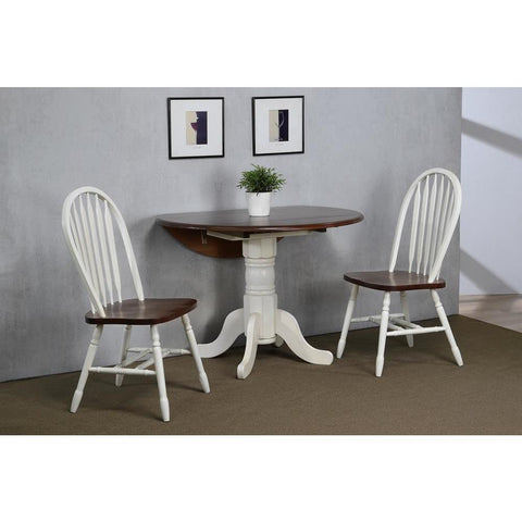 Sunset Trading 3 Piece 42 Inch Round Drop Leaf Dining Table Set w/Arrowback Chairs in Antique White w/Distressed Chestnut Top & Seats