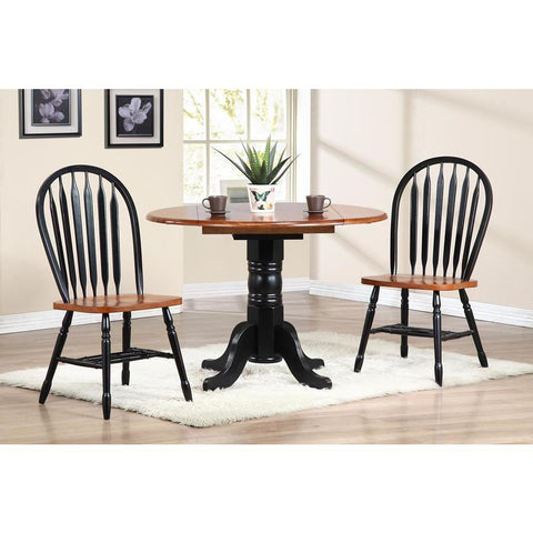 Sunset Trading 3 Piece 42 Inch Round Drop Leaf Dining Table Set w/Arrowback Chairs in Distressed Antique Black w/Cherry