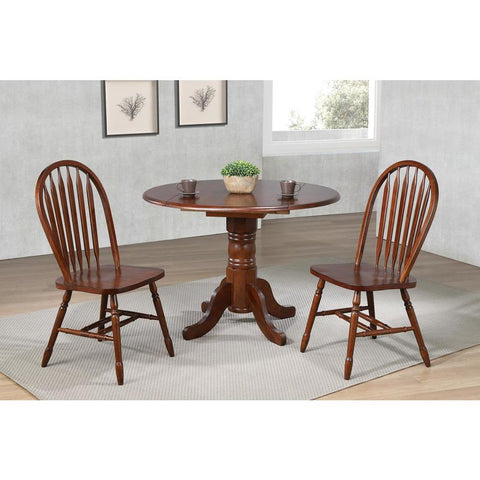 Sunset Trading 3 Piece 42 Inch Round Drop Leaf Dining Table Set w/Arrowback Chairs in Distressed Chestnut