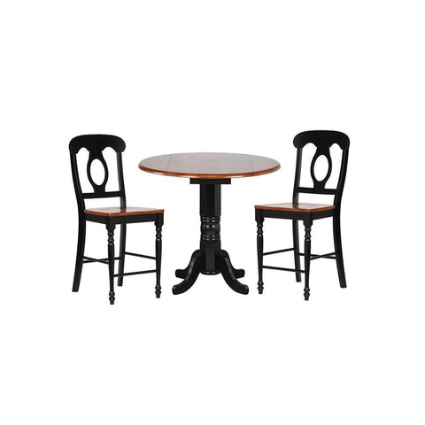 Sunset Trading 3 Piece 42 Inch Round Drop Leaf Pub Table Set w/Napoleon Stools in Antique Black w/Cherry