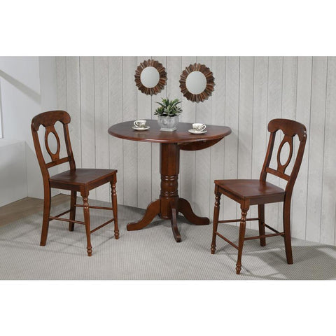 Sunset Trading 3 Piece Andrews 42 Inch Round Drop Leaf Pub Table Set w/Napoleon Stools in Warm Distressed Chestnut
