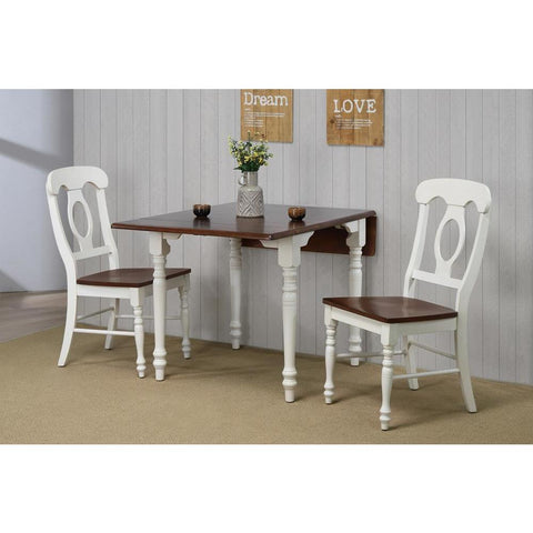 Sunset Trading 3 Piece Drop Leaf Dining Table Set in Antique White w/Chestnut Top & Napoleon Chairs
