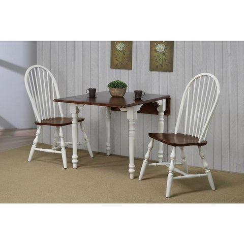 Sunset Trading 3 Piece Drop Leaf Dining Table Set in Antique White w/Chestnut Top & Spindleback Chairs
