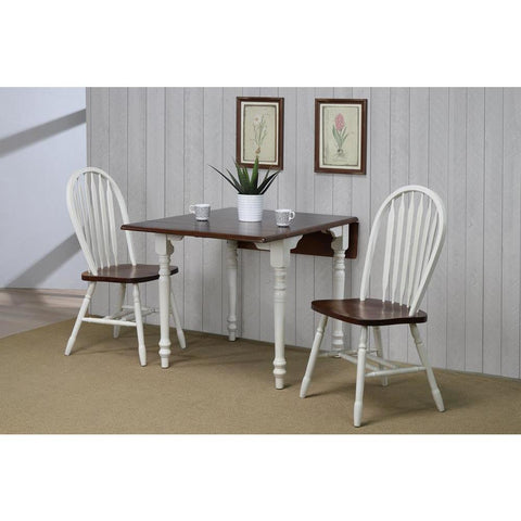 Sunset Trading 3 Piece Drop Leaf Dining Table Set in Antique White w/Chestnut Top