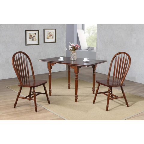 Sunset Trading 3 Piece Drop Leaf Dining Table Set in Chestnut w/Arrowback Chairs in Distressed Chestnut