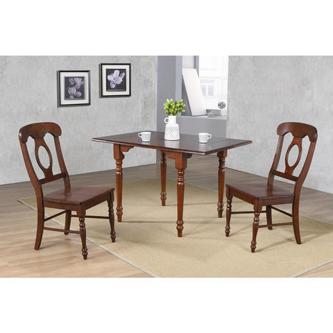 Sunset Trading 3 Piece Drop Leaf Dining Table Set in Chestnut w/Napoleon Chairs