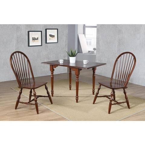 Sunset Trading 3 Piece Drop Leaf Dining Table Set in Chestnut w/Spindleback Chairs