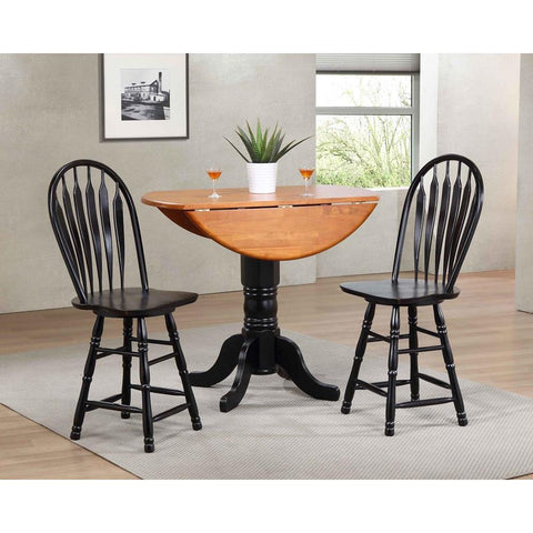 Sunset Trading 3 Piece Drop Leaf Pub Table Set w/Swivel Barstools in Distressed Antique Black w/Cherry