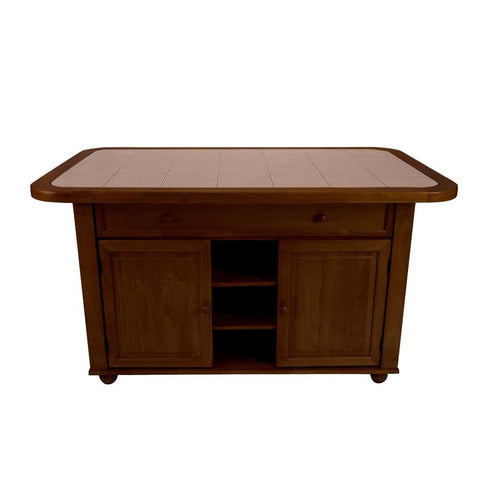 Sunset Trading 3 Piece Nutmeg Kitchen Island Set w/Light Oak Trim & Terracotta Rose Tile Top