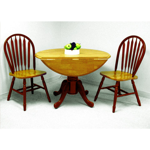 "Sunset Trading 42"" Round Drop Leaf Table and Two Arrowback Chairs in Nutmeg Light Oak Finish"