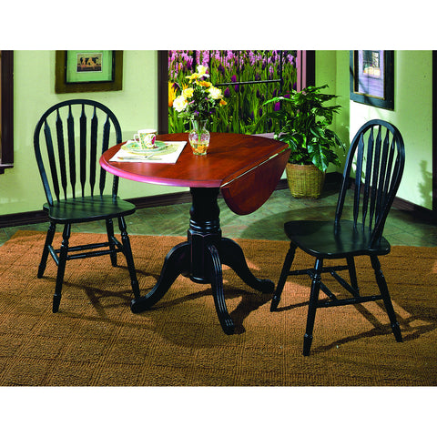 "Sunset Trading 42"" Round Drop Leaf Table in Antique Black and Two Antique Black Arrowback Chairs"