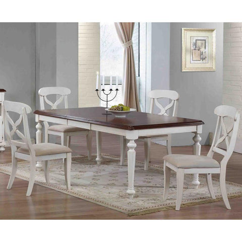 Sunset Trading 5 Piece Andrews Butterfly Leaf Dining Table Set in Antique White w/Distressed Chestnut Top