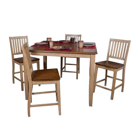 Sunset Trading 5 Piece Brook 48 Inch Square Pub Set w/Slat Back Stools in Distressed Light Creamy Wheat w/Warm Pecan