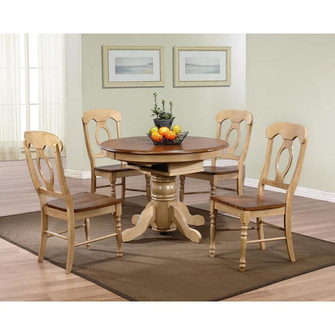 Sunset Trading 5 Piece Brook Round or Oval Butterfly Leaf Dining Table Set w/Napoleon Chairs in Distressed Light Creamy Wheat w/Warm Pecan