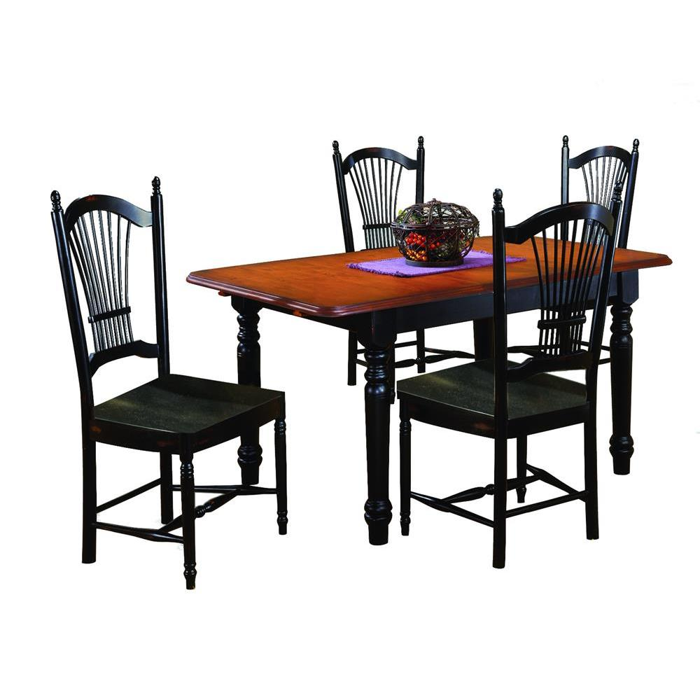 945a23a1b4c Sunset Trading 5 Piece Butterfly Dining Table Set w Allenridge Chairs in  Distressed Antique Black