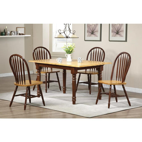 Sunset Trading 5 Piece Butterfly Dining Table Set w/Arrowback Chairs in Medium Walnut w/Light Oak