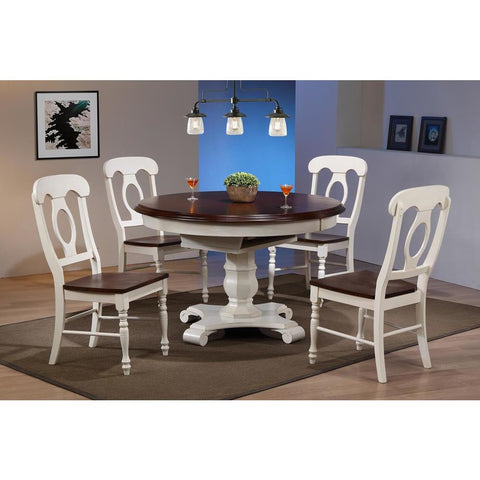 Sunset Trading 5 Piece Butterfly Leaf Dining Table Set w/Napoleon Chairs in Distressed Antique White w/Chestnut