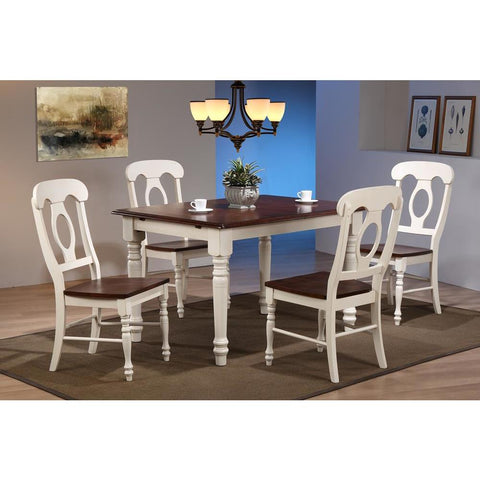Sunset Trading 5 Piece Butterfly Leaf Dining Table Set w/Napoleon Chairs in Distressed Antique White