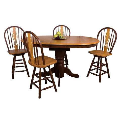 Sunset Trading 5 Piece Butterfly Leaf Pub Table Set w/Keyhole Barstools in Medium Walnut w/Light Oak Top