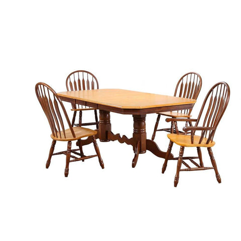 Sunset Trading 5 Piece Double Pedestal Trestle Butterfly Leaf Dining Table Set w/Arm Chairs in Medium Walnut w/Light Oak