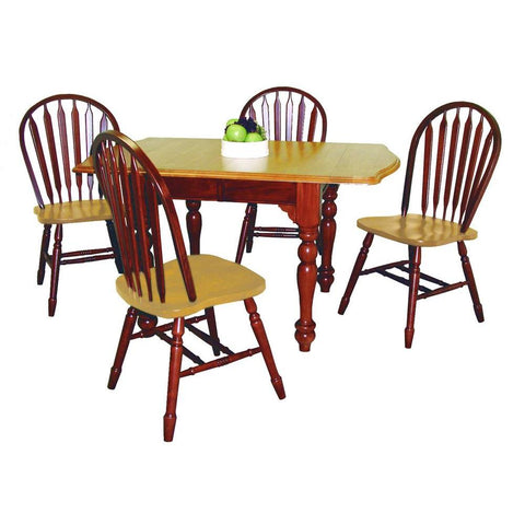 Sunset Trading 5 Piece Drop Leaf Extension Dining Table Set w/Arrowback Chairs in Medium Walnut w/Light Oak